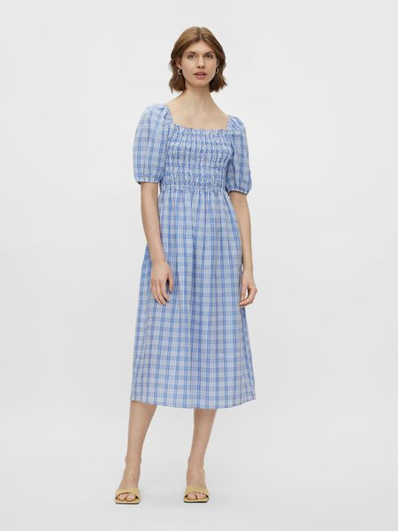 PUFF SLEEVED MIDI DRESS