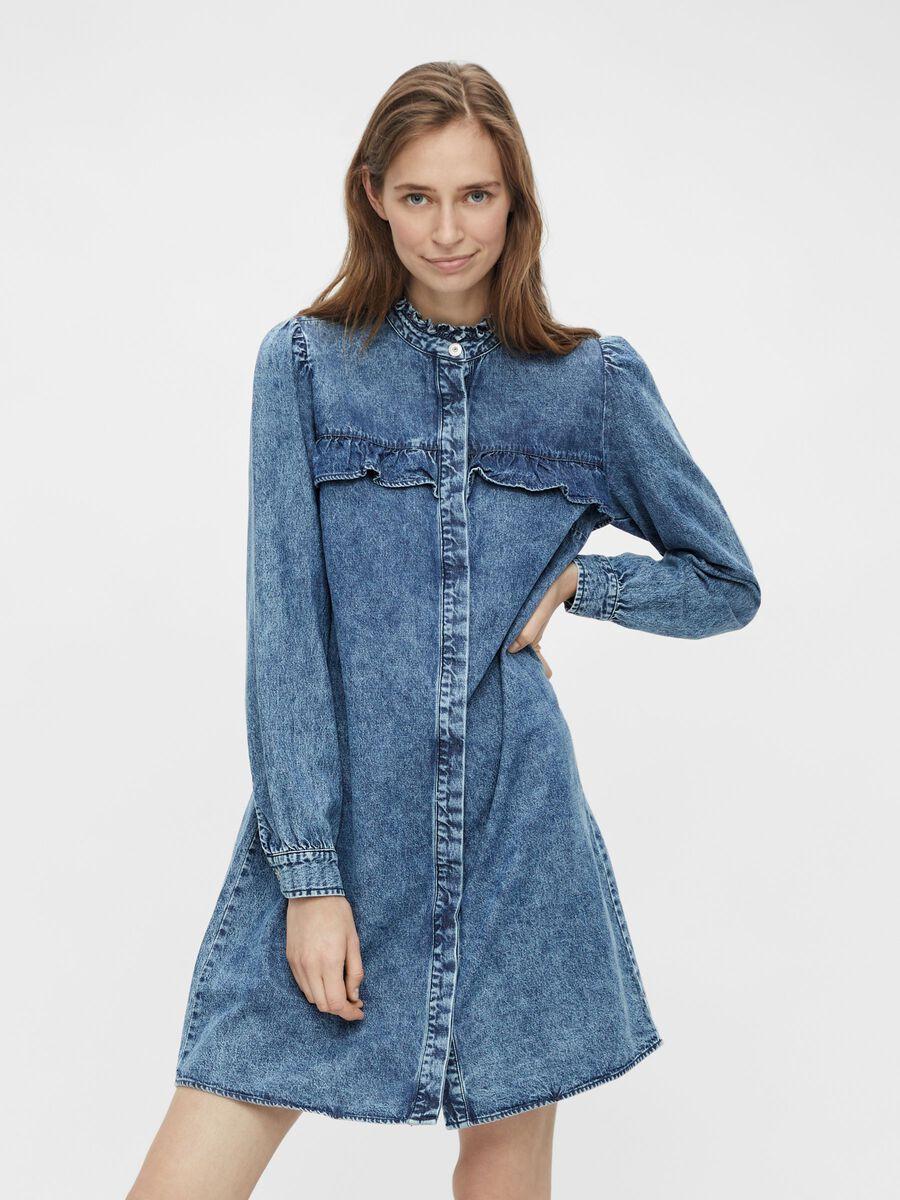 Pieces PCFIFI DENIM DRESS, Medium Blue Denim, highres - 17116113_MediumBlueDenim_003.jpg