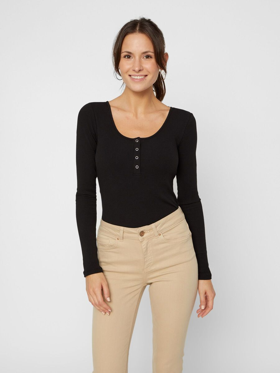 BUTTON-FRONT RIBBED TOP, Black, highres