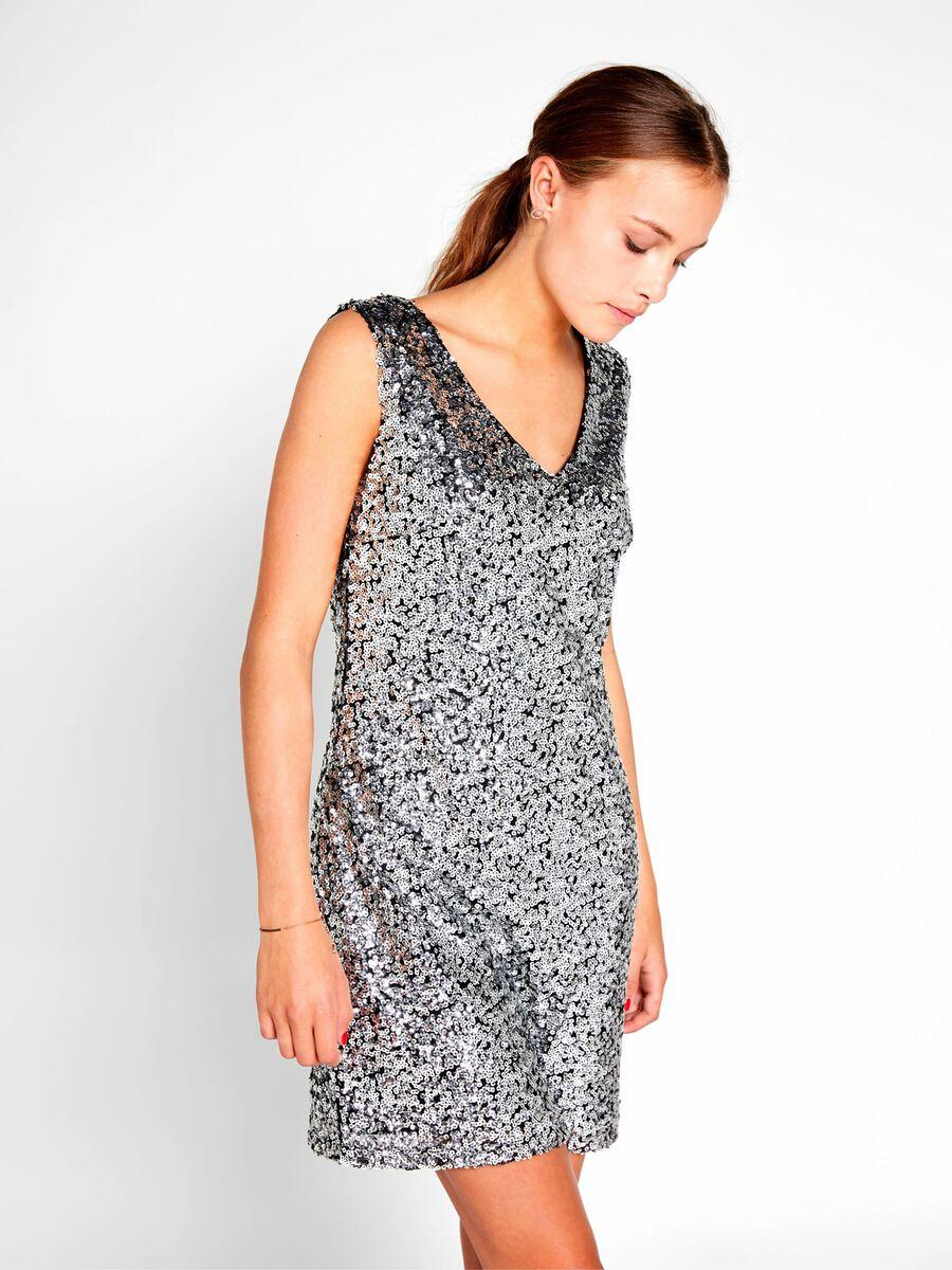 pailletten kleid mit kurzen Ärmeln