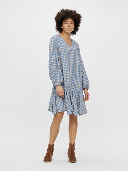 CHECK LONG SLEEVED DRESS