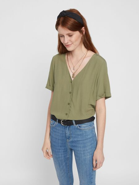 BUTTON-UP TOP MET KORTE MOUWEN