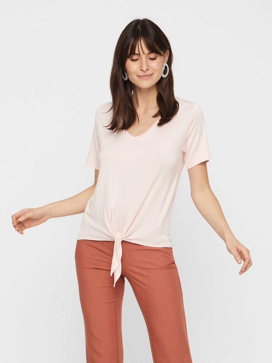 FRONT TIE-KNOT V-NECK T-SHIRT, Lotus, highres