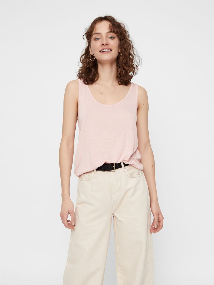LOOSE FITTED SLEEVELESS TOP, Peachskin, highres