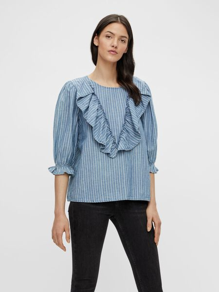 3/4 SLEEVED RUFFLE DETAIL TOP