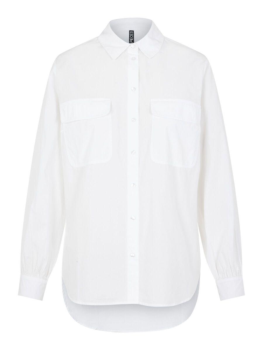 PIECES Ensfarvet Langærmet Skjorte Kvinder White
