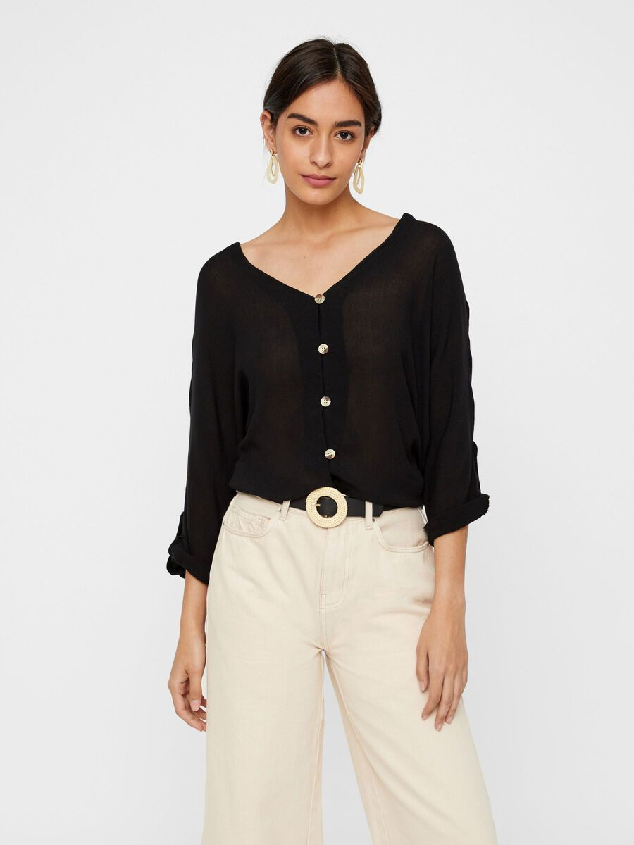 BUTTON-UP VISCOSE BLOUSE, Black, highres