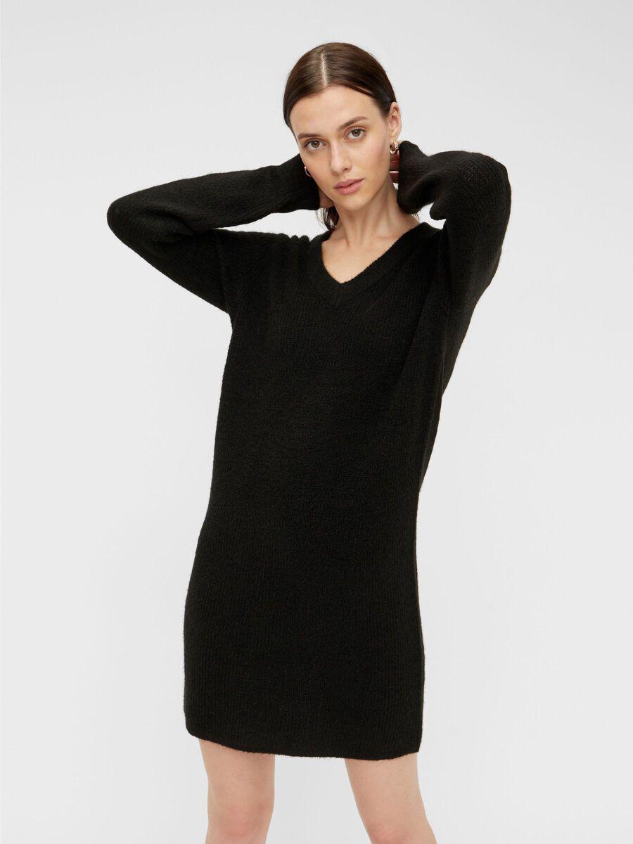 V-NECK KNIT DRESS, Black, highres