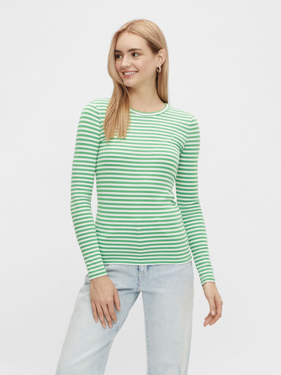 Pieces STRIPED LONG SLEEVED TOP, Bright White, highres - 17112965_BrightWhite_926924_003.jpg