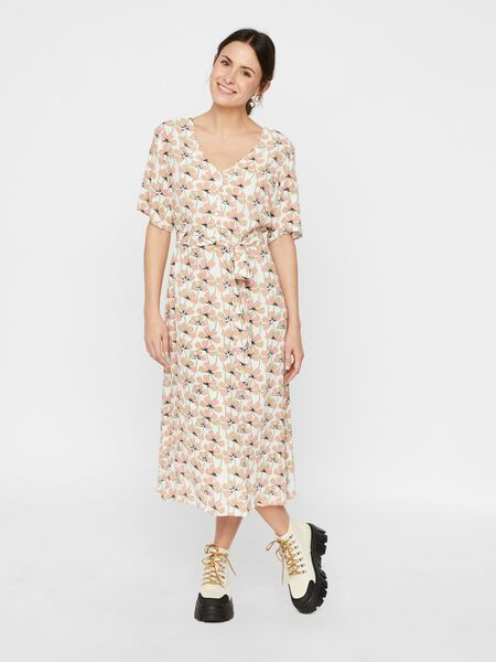 PRINTED TIE WAIST MIDI DRESS