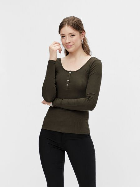 BUTTON-FRONT RIBBED TOP
