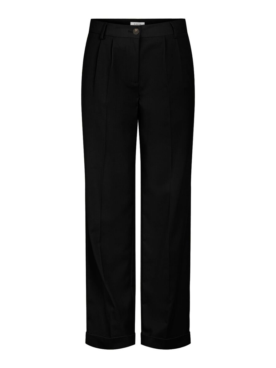 WIDE TROUSERS, Black, highres