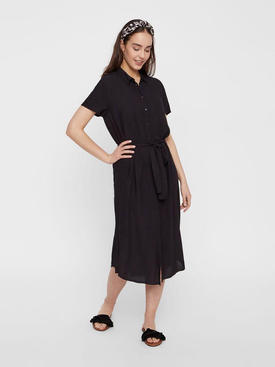 MIDI-LENGTH SHIRT DRESS, Black, highres