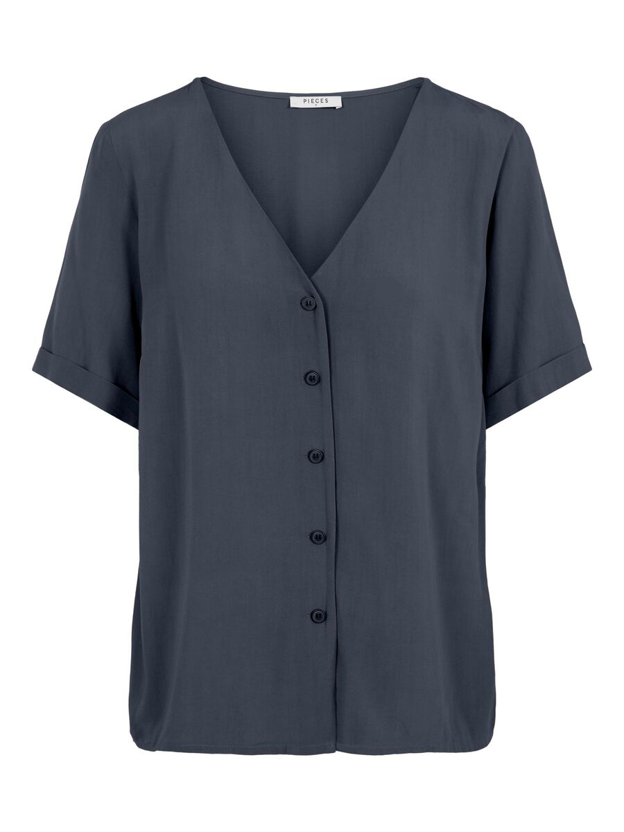 Pieces BUTTON-UP SHORT SLEEVED TOP, Ombre Blue, highres - 17100686_OmbreBlue_001.jpg