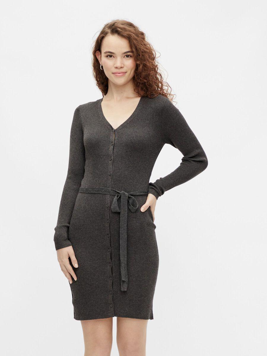Pieces PCFRENCH KNITTED DRESS, Dark Grey Melange, highres - 17115926_DarkGreyMelange_003.jpg
