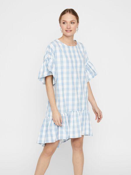 CHECKED KNEE-LENGTH DRESS