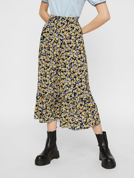 PRINTED HIGH WAIST MIDI SKIRT