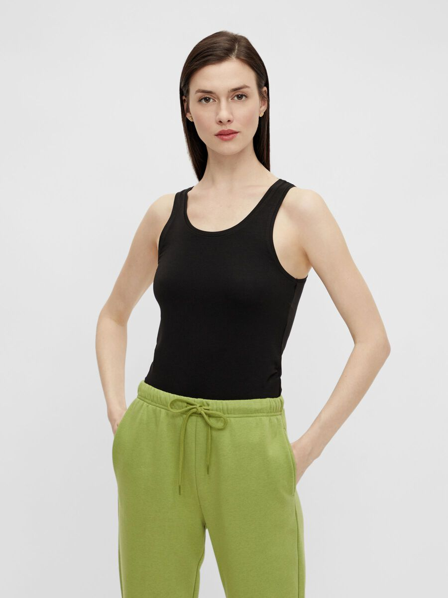 SOLID-COLOURED SLEEVELESS TOP, Black, highres