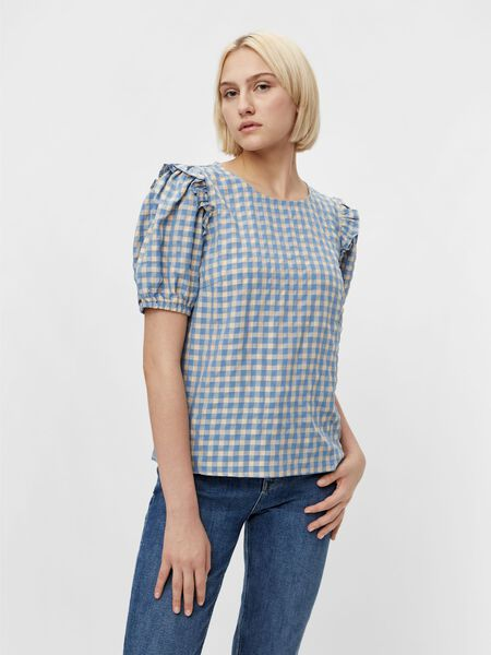 CHECKED SHORT SLEEVED TOP