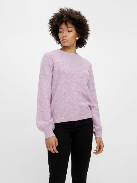 BALLOON SLEEVED KNITTED PULLOVER
