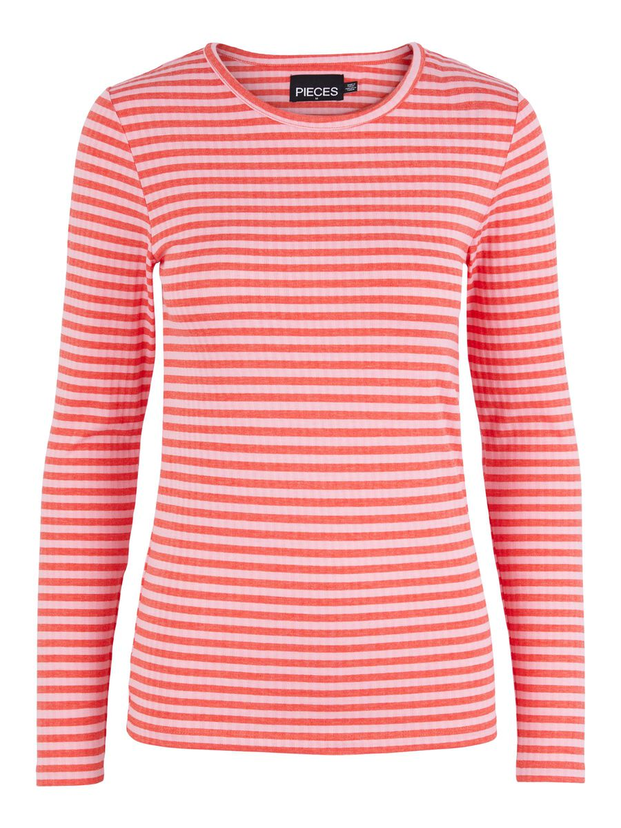 Pieces STRIPED LONG SLEEVED TOP, Cotton Candy, highres - 17112965_CottonCandy_932664_001.jpg