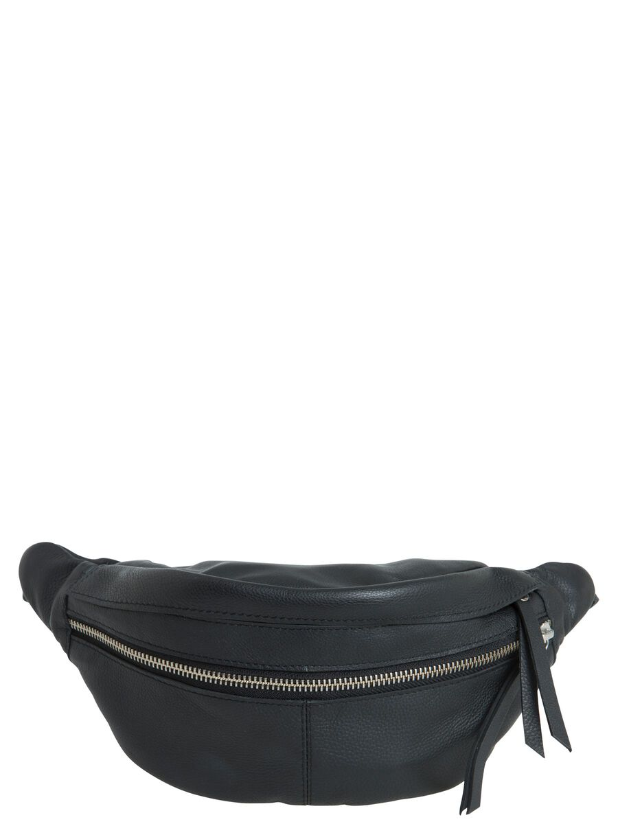 LEATHER BUM BAG, Black, highres