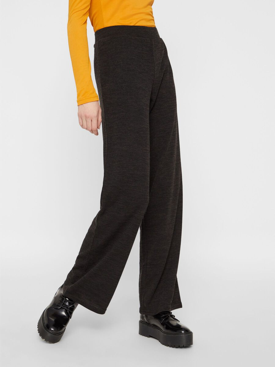WIDE-LEG KNITTED TROUSERS, Black, highres